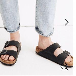 New black double strap birkenstock sandals
